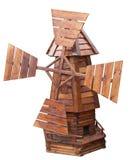 Mulino a vento di legno isolato Fotografie Stock Libere da Diritti