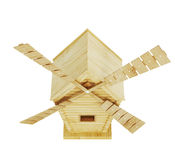 Mulino a vento di legno su fondo bianco 3d rendono i cilindri di image Fotografia Stock