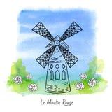 Mulino a vento di Moulin Rouge Immagine Stock