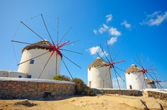 Mulino a vento di Mykonos Immagine Stock