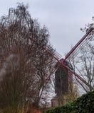 Mulino a vento di Wooden De Nieuwe Pappegai fotografie stock