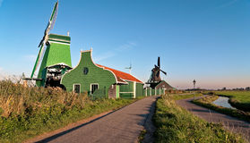 Mulino a vento di Zaanse Schans di mattina Immagini Stock Libere da Diritti