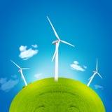 Mulino a vento e globo verde Fotografia Stock Libera da Diritti