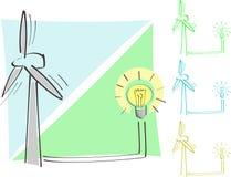 Mulino a vento e lampadina Immagini Stock Libere da Diritti