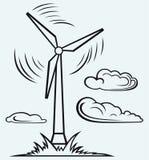 Mulino a vento e nuvole Immagini Stock Libere da Diritti