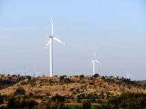 Mulino a vento e paesaggio Fotografia Stock Libera da Diritti