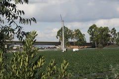 Mulino a vento ed azienda agricola Fotografie Stock Libere da Diritti