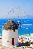 Mulino a vento famoso di Mykonos Fotografia Stock Libera da Diritti