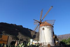 Mulino a vento in Gran Canaria Fotografia Stock Libera da Diritti
