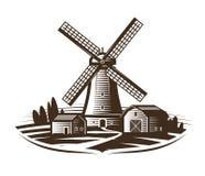 Mulino a vento, logo del mulino o etichetta Coltivi, paesaggio rurale, l'agricoltura, il forno, icona del pane Illustrazione d'an royalty illustrazione gratis