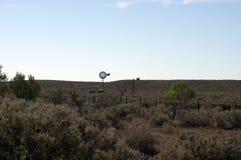 Mulino a vento lungo la strada a nord di Quorn, Australia Meridionale fotografie stock