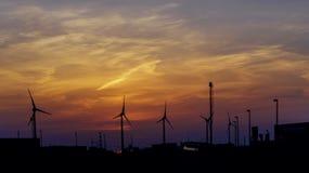 Mulino a vento Mulini a vento ad alba Turbine di vento, campo giallo Generatore eolico che genera elettricità di eco Immagine Stock