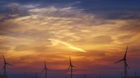 Mulino a vento Mulini a vento ad alba Turbine di vento, campo giallo Generatore eolico che genera elettricità di eco Immagini Stock Libere da Diritti