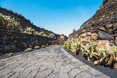 Mulino a vento nel giardino tropicale del cactus nel villaggio di Guatiza, Lanzarote Fotografia Stock