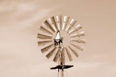 Mulino a vento nella seppia Fotografia Stock Libera da Diritti