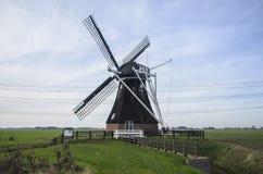 Mulino a vento Noordermolen Noordbroek, Paesi Bassi Fotografia Stock Libera da Diritti