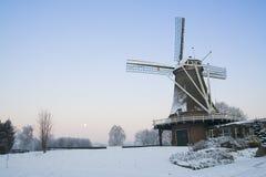 Mulino a vento olandese con neve Fotografia Stock Libera da Diritti