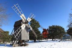 Mulino a vento in Skansen Fotografia Stock