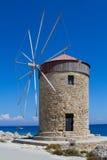 Mulino a vento su Rodi Fotografie Stock Libere da Diritti