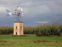 Mulino a vento sul campo Fotografie Stock