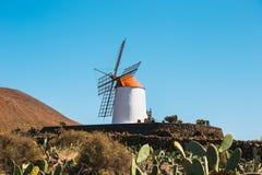 Mulino a vento sul fondo del cielo blu nel giardino del cactus, villaggio di Guatiza, Lanzarote Fotografia Stock