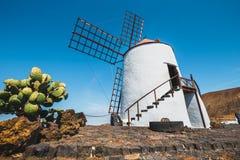 Mulino a vento sul fondo del cielo blu nel giardino del cactus, villaggio di Guatiza, Lanzarote Fotografia Stock Libera da Diritti