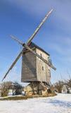 Mulino a vento tradizionale in inverno Immagine Stock Libera da Diritti