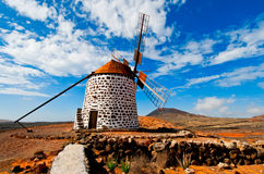 Mulino a vento tradizionale in La Oliva, Fuerteventur Immagini Stock Libere da Diritti
