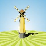 Mulino a vento in un campo pulito Immagine Stock