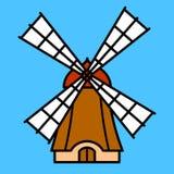 Mulino a vento variopinto del fumetto Immagini Stock Libere da Diritti