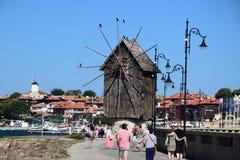 Mulino a vento in vecchia città Nessebar Fotografia Stock