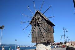 Mulino a vento in vecchia città Nessebar Fotografia Stock Libera da Diritti