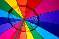 Mulit-colored Rainbow Umbrella. This is a wide-angle shot of a multi-colored umbrella at the beach. Highly saturated colors Royalty Free Stock Photo