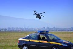 Mulitary-Hubschrauber aerobatic Sofia-Flughafen Stockfotografie