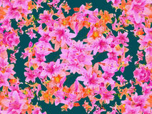 Mulitcolored Floral Pattern. Digital technique mulitcolored beautiful composition floral pattern background in blue, magenta and orange colors Stock Photos