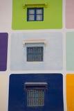 Muliti coloreó la casa en Agadir Imágenes de archivo libres de regalías
