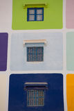 Muliti färgade huset i Agadir Royaltyfria Bilder