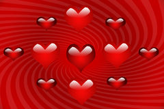 Mulitiple Hearts on Red Spiral Royalty Free Stock Images