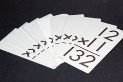 Mulitiplication Flash Cards. Multiplication Flash Cards used for classroom and home learning studies Stock Photos