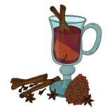 mulled вино Иллюстрация Vecrot Стоковые Изображения