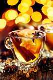 Mulled  apple cider with added spices and citrus. A delicious and warming hot drink perfect for autumn and winter evenings Royalty Free Stock Images