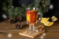 Mulled Cider with Added Spices and Citrus Delicious and Warming Hot Drink Winter Christmas Holidays Drink Horizontal Snow stock image