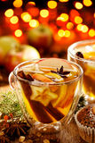 Mulled cider with addition of cinnamon, cloves, citrus and anise stars Stock Photos