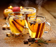 Mulled cider with cinnamon, anise, cloves and citrus Royalty Free Stock Image