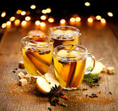 Mulled cider with cinnamon, anise, cloves and citrus Stock Images