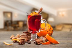 Mulled. Wine citrus advent alcohol anise aromatic Stock Images