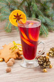 Mulled red wine with christmas tree Stock Photography
