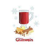 Mulled red wine - winter alcohol drink, vector Stock Photography