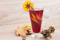Mulled red  wine on wooden table Royalty Free Stock Image