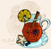 Mulled warm wine background Royalty Free Stock Images